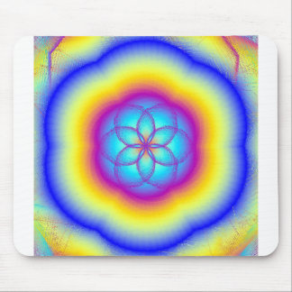 Stained Glass Rainbow Lotus Blossom Mouse Pad