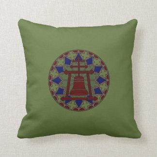 Stained Glass Raincross Tri Design Throw Pillow
