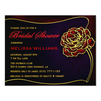 Stained-Glass Red Gold Rose Bridal Shower Card