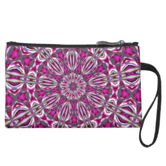 Stained Glass Redbud Mini-Clutch Suede Wristlet