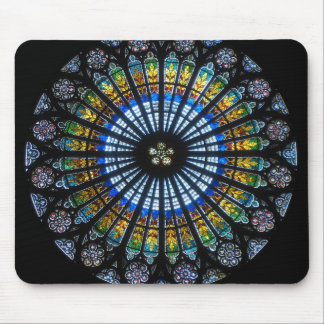 Stained Glass Rose Window In Strasbourg Cathedral Mouse Pad
