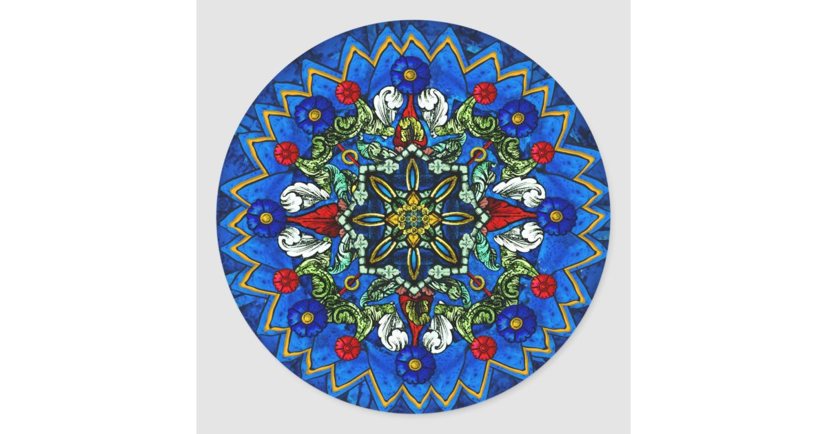 Stained Glass Rose Window Mandala Sticker   Zazzle.com