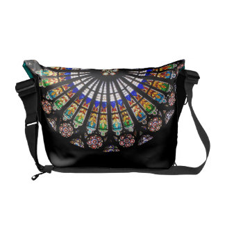 Stained glass rosette of cathedral courier bag