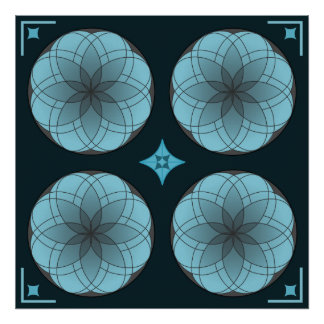 Stained Glass Rosette Poster