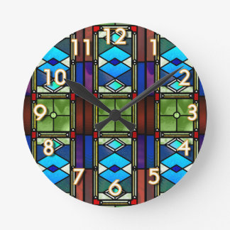 Stained Glass Round Clock