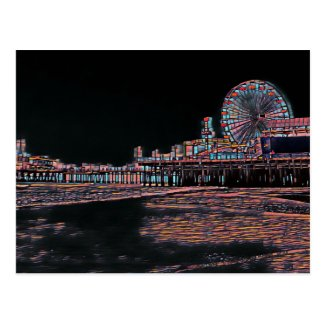 Stained Glass Santa Monica Pier Postcard