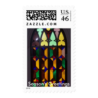 Stained Glass Season's Greetings Holiday Stamp