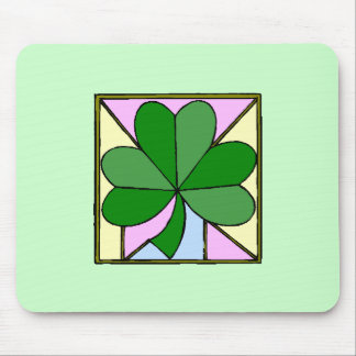 Stained Glass Shamrock Mouse Pad