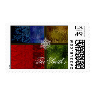 Stained glass snowflakes postage