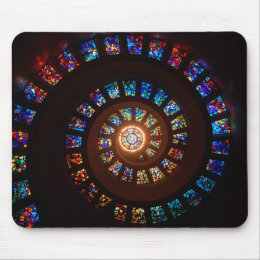 Stained Glass Spiral Window Mouse Pad