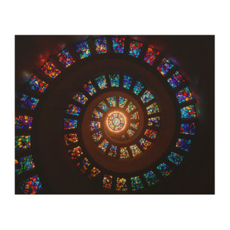 Stained Glass Spiral Window Wood Print