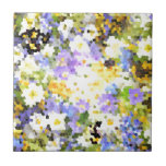 Stained Glass Spring Flowers Yellow Violet Green Small Square Tile