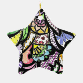Stained Glass Star Ceramic Ornament