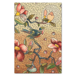 Stained glass style bird on a flowering tree tissue paper