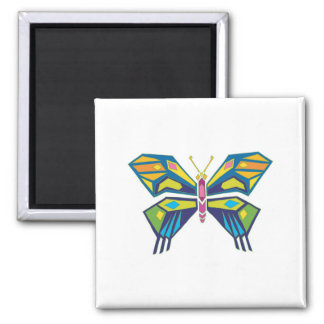 stained glass style butterfly design 2 inch square magnet