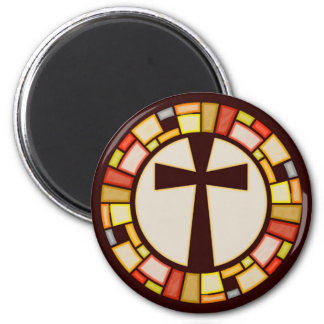Stained Glass Style Cross 2 Inch Round Magnet