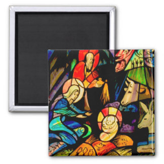 Stained Glass Style Nativity 2 Inch Square Magnet