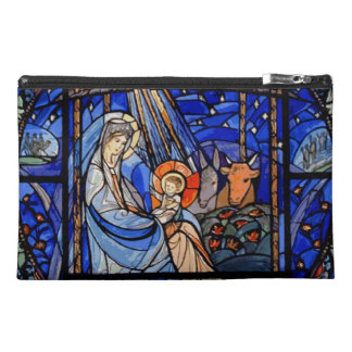 Stained Glass Style Nativity Travel Accessory Bag