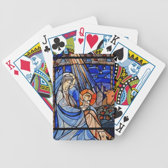 Stained Glass Style Nativity Bicycle Playing Cards