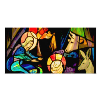 Stained Glass Style Nativity Photo Card