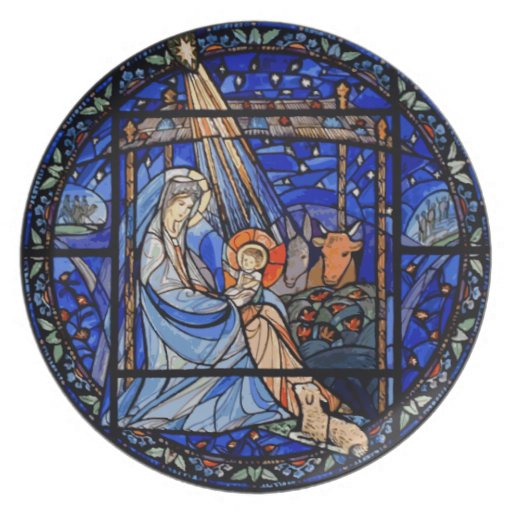Stained Glass Style Nativity Plate