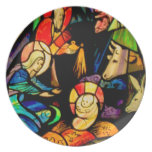 Stained Glass Style Nativity Plates