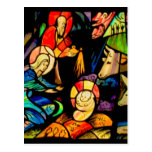 Stained Glass Style Nativity Post Card