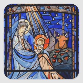 Stained Glass Style Nativity Square Sticker
