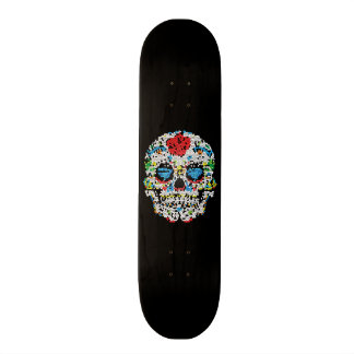 Stained Glass-Sugar Skull Skateboard