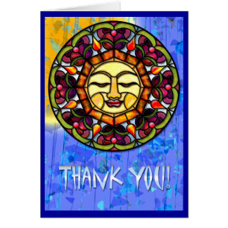 Stained Glass Sun-Catcher Thank You Greeting Cards