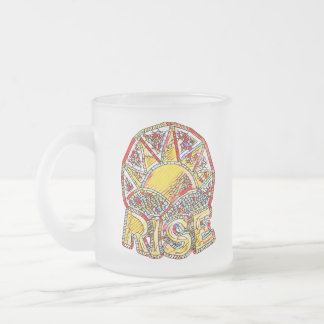Stained Glass Sun Rise ~ Uplifting Message Frosted Glass Coffee Mug