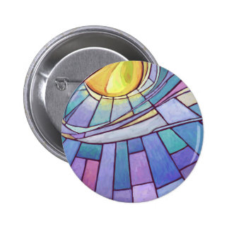 Stained Glass Sun Shining Sky Pinback Button