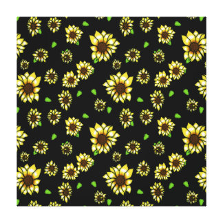 Stained Glass Sunflowers on Black Canvas Print