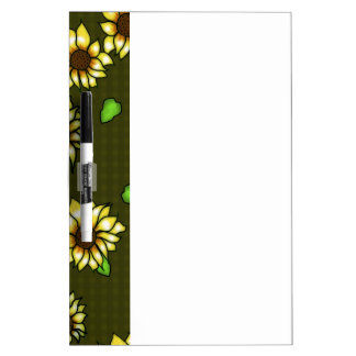 Stained Glass Sunflowers on Olive Gingham Dry-Erase Whiteboard