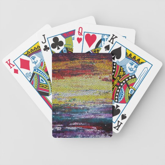 Stained Glass Sunset Bicycle Playing Cards