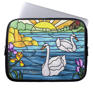 Stained Glass Swan Laptop Sleeve