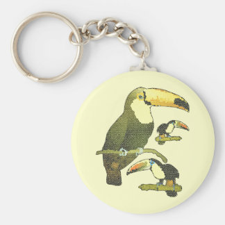 Stained Glass Toucan Basic Round Button Keychain