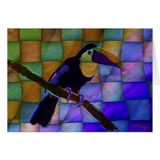 Stained glass toucan card