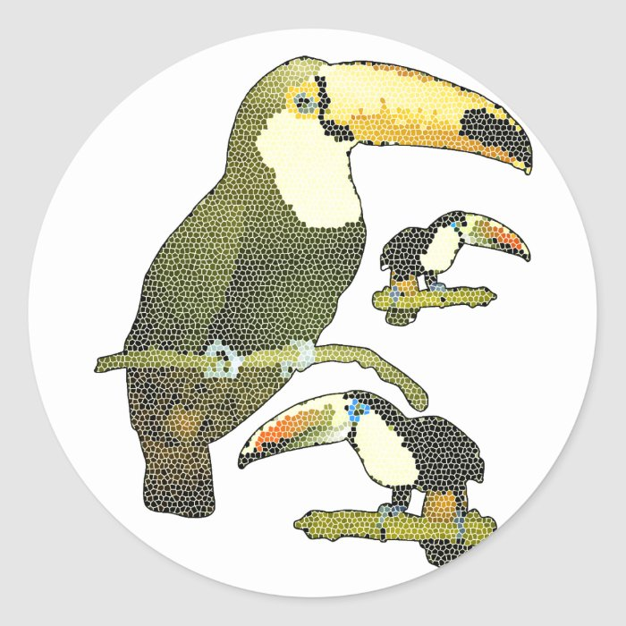 Stained Glass Toucan Classic Round Sticker