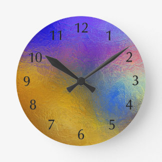 Stained glass, transparent colorful shiny window round clock