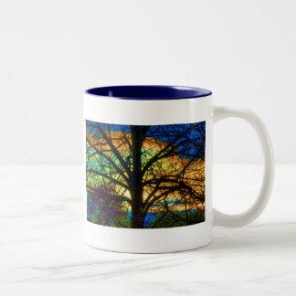 Stained Glass Tree Two-Tone Coffee Mug