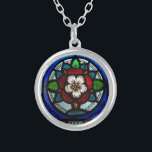 """Stained Glass Tudor Rose Silver Plated Necklace<br><div class=""""desc"""">Capture the inspirational elegance of stained glass in this pendant which features a stylized Tudor rose.</div>"""