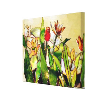 Stained Glass Tulip Nature Canvas Print