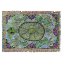 Stained Glass Turtle Throw Blanket