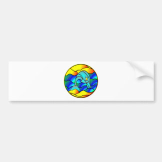 Stained Glass Type Dolphin Bumper Sticker