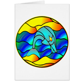 Stained Glass Type Dolphin Card