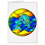 Stained Glass Type Dolphin Greeting Card