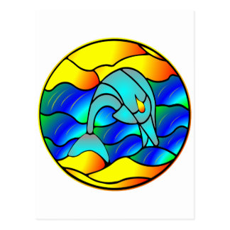 Stained Glass Type Dolphin Post Cards