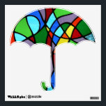 """Stained glass Umbrella wall decal<br><div class=""""desc"""">The colours/pattern of this wall decal showing an Umbrella have been taken from the original stained glass I made and named &quot;abstract Tree of Life&quot;. The tree of life design and colours are copyrighted to witneystainedglass.</div>"""