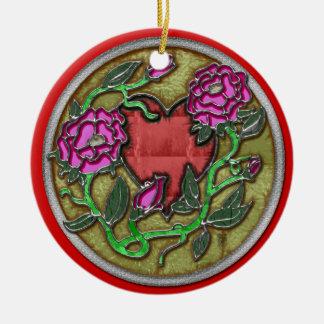 stained glass valentine ceramic ornament